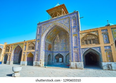 Qajar Era Masjid Seyed is the largest historic mosque of Isfahan, famous for its masterpiece tiled patterns, covering the iwans (portals), arcades and walls, Iran.