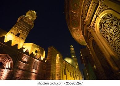 Qalawun complex at night, islamic Cairo, Egypt