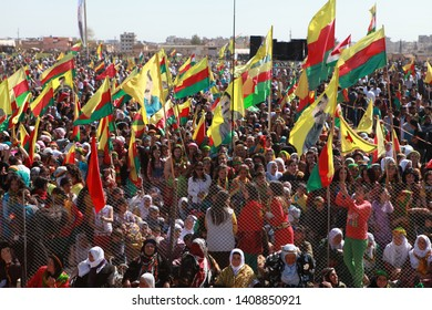 Qamislo, Syria- Öcalan's message of unarmed solution to the Kurdish question was read in Diyarbakır in 2013 Newroz, and photographs of Öcalan in Newroz were celebrated in Qamislo. March 21, 2013.