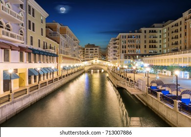 The Qanat Quartier in Doha, Qatar, by night