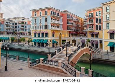 Qanat Quartier Doha, Qatar - October 26, 2018: Venetian bridge in the Qanat Quartier at the Pearl in Doha, Qatar