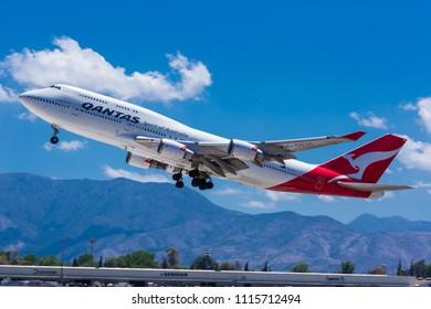 Qantas 747-400 plane, SCEL/ SCL. Santiago, Chile, 2015