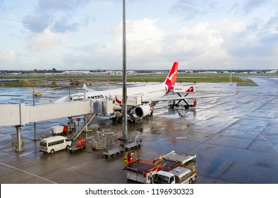 QANTAS airplane at Perth domestic airport. Photographed: June, 2018.