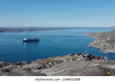 Qaqortoq cruise bay with ship. Cruise marina panoramic view