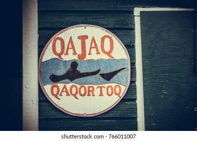 QAQORTOQ, Greenland / JUNE 24 2013: signs of the city Qaqortoq