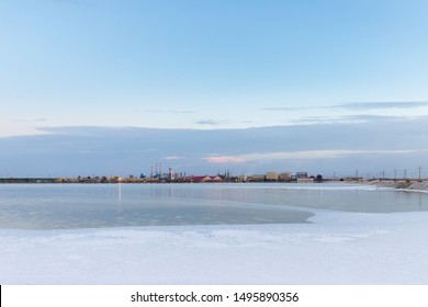 qarhan salt lake industrial landscape at dusk, golmud city, qinghai province, China