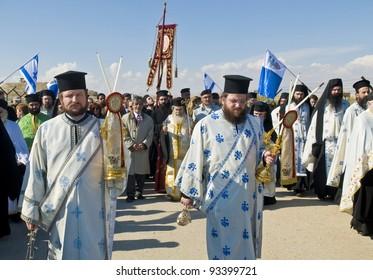 QASER EL YAHUD , ISRAEL - JAN 18 : The greek orthodox patriarch participates in the baptising ritual during the epiphany at Qaser el yahud , Israel in January 18 2012