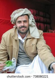 qat seller at the market- 03-11-2009 Sanaa, Yemen
