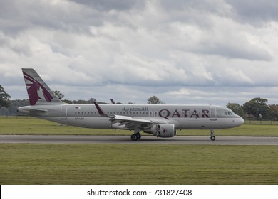 Qatar Airways Airbus A320 aircraft, A7-LAH, landing from Mahon on October 7th 2017 at London Luton Airport, Bedfordshire, UK
