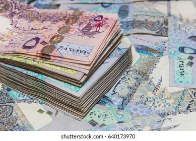 Qatar currency closeup