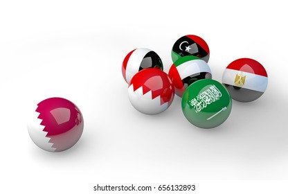 Qatar diplomatic crisis - A group of Arab flags on spheres cuts ties with Qatar / 3D illustration.
