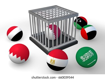 Qatar diplomatic crisis-Qatar flag on a sphere in a cage surrounded by other Arab flags / 3D illustration.