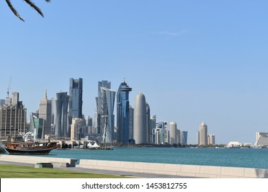 Qatar, Doha, 16th of July 2019. Picture of Doha West Bay famous skyscrapers.