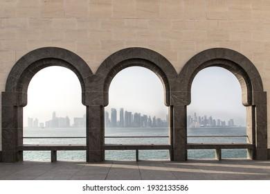 QATAR, Doha Aug 2017: City of Doha in misty hot sandy weather