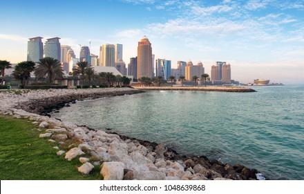 Qatar - Doha city skyline with sea