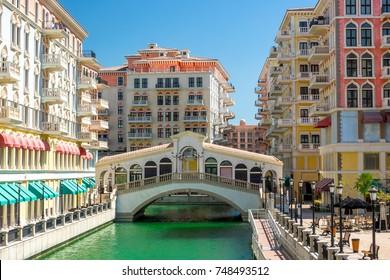 Qatar. Doha. District Little Venice. Bridge, like the Rialto Bridge