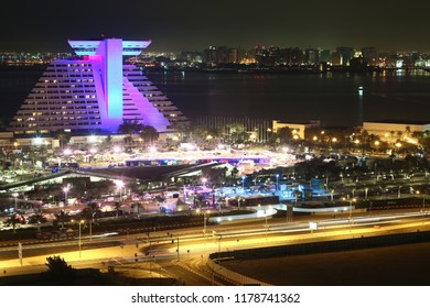 QATAR, DOHA, MARCH 20, 2018: Sheraton Grand Doha Resort and Convention hotel in Doha - capital and most populous city in Qatar, West Bay, Persian Gulf, Arabian Peninsula, Middle East