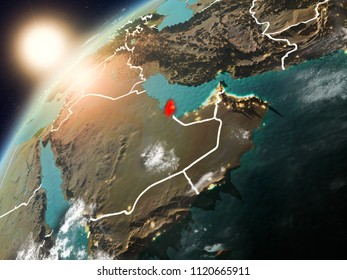 Qatar during sunset highlighted in red on planet Earth with clouds and visible country borders. 3D illustration. Elements of this image furnished by NASA.