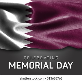 Qatar flag and Celebrating Memorial Day Typography on wood background