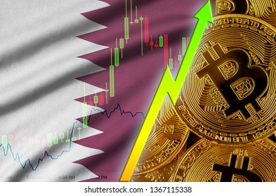 Qatar flag and cryptocurrency growing trend with many golden bitcoins