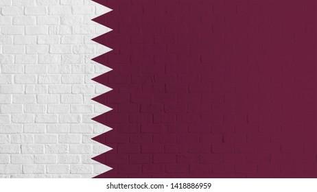 Qatar flag on brick wall background