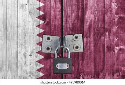 Qatar flag on door with padlock