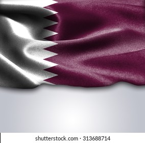 Qatar flag on smooth silk texture Space for Text