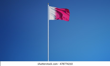 Qatar flag waving against clean blue sky, long shot, isolated with clipping path mask alpha channel transparency