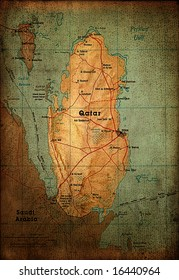 Qatar map on vintage paper
