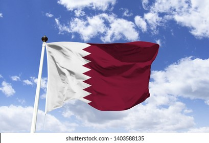Qatar, Middle East flag mockup floating under a blue sky. Arabian Peninsula, the landscape covers an arid desert and a long coast in the Persian Gulf. Capital Doha, known for futuristic skyscrapers