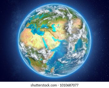 Qatar in red on model of planet Earth with clouds and atmosphere in space. 3D illustration. Elements of this image furnished by NASA.