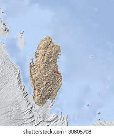 Qatar. Shaded relief map. Surrounding territory greyed out. Colored according to vegetation. Includes clip path for the state area.