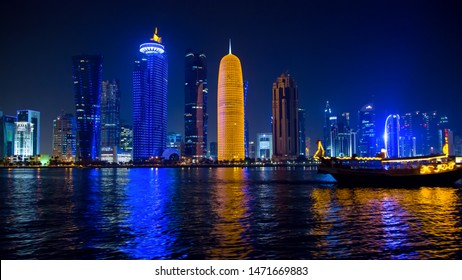 Qatar skyline building picture from the iconic dhow ship