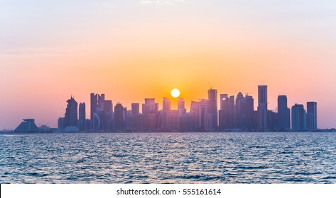 Qatar Skyline during sunset from the sea side.