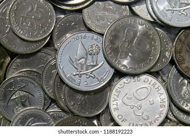 Qatari Dirham Coins. Qatar Money.