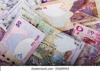 Qatari money ryals isolated on white background