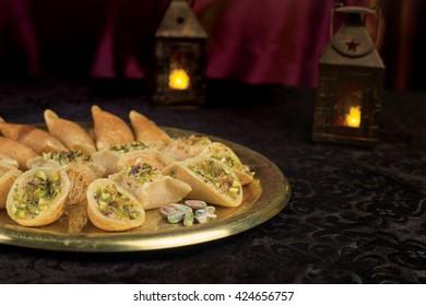 Qatayef with cream and nuts