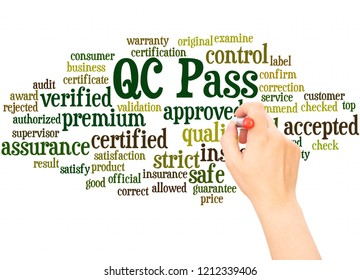 QC pass word cloud hand writing concept on white background.