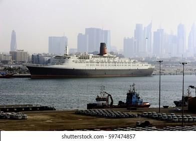QE2 and a misty Port Rashid, Dubai - Jan 2017