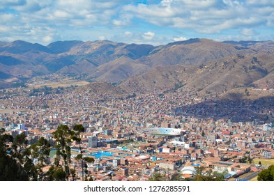 QENKO / PERU, August 15, 2018: VIew of downtown Cusco from the ruins of Qenko