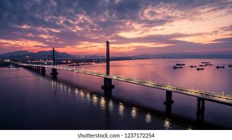 Qi Ao Island Bridge Sunset Landscape