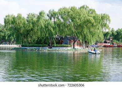 Qianhai Lake and shore, near the forbidden city in Beijing