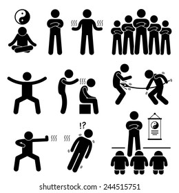 Qigong Qi Energy Power Stick Figure Pictogram Icons
