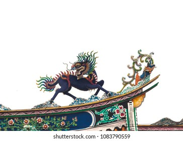 Qilin or Kylin pottery china style on temple china roofing