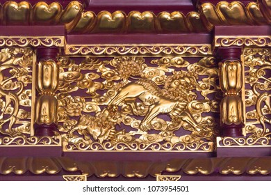Qilin woodcarving architecture landscape