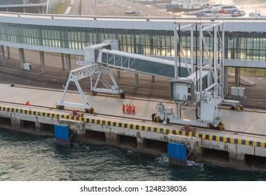 QINGDAO, CHINA - 23 OCTOBER 2018: Ship approaching International Cruise ship port at Qingdao in China