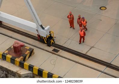 QINGDAO, CHINA - 23 OCTOBER 2018: Securing boat at International Cruise ship port at Qingdao in China