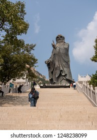 QINGDAO, CHINA - 23 OCTOBER 2018: Steps to statue of Lao Tze by Tai Qing Gong at Laoshan near Qingdao China