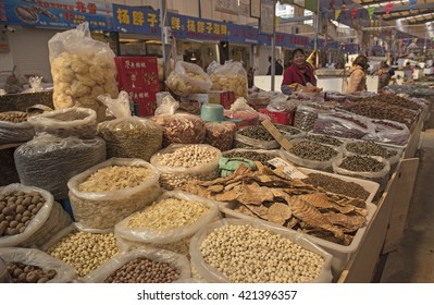 QINGDAO, CHINA - 25 MARCH, 2016: Qingdao food market in Qingdao, China on 25 March, 2016.