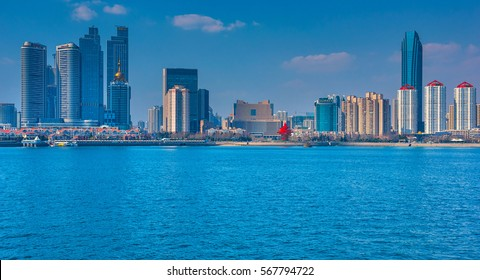QINGDAO, CHINA - 25 MARCH, 2016: Beautiful view on the port and city of Qingdao, China on 25 March, 2016.